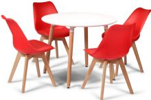 Toulouse Dining Set  - 90cms Round White Table & 4 Red Chairs